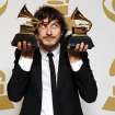 Gotye poses backstage with the awards for best pop duo/group performance for