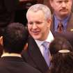 Gov. Brad Henry shakes hands as he leaves the chamber after delivering his yearly State of the State message to a joint session of lawmakers in the House chambers at the state capitol Monday afternoon, Feb, 1, 2010.  Photo by Jim Beckel, The Oklahoman