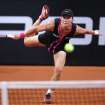 Australian Samantha Stosur serves against Russia's Maria Sharapova during their quarterfinal match at the Porsche tennis Grand Prix in Stuttgart, Germany, Friday, April 27, 2012.  (AP Photo/Michael Probst) ORG XMIT: PSTU120
