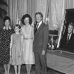 FILE - In this June 30, 1979 file photo, then South Korean President Park Chung-hee, left, and his daughter Park Geun-hye, second left, pose with U.S. President Jimmy Carter, right, and U.S. first lady Rosalynn Carter, second right, and their daughter, Amy, at the Blue House in Seoul, South Korea. Park Geun-hye was elected the country's first female president Wednesday, Dec. 19, 2012, a landmark win that could mean a new drive to start talks with rival North Korea. At right is a portrait of the President and Mrs. Carter. (AP Photo/File)