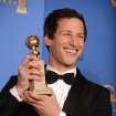 "Andy Samberg poses in the press room with the award for best actor in a television series - comedy or musical for ""Brooklyn Nine - Nine"" at the 71st annual Golden Globe Awards at the Beverly Hilton Hotel on Sunday, Jan. 12, 2014, in Beverly Hills, Calif. (Photo by Jordan Strauss/Invision/AP)"