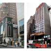 This combination of photos shows the Glad Tidings Tabernacle church on West 33rd Street in New York, on March 18, 2005, left, and a hotel being built at the site on May 24, 2012. When the dwindling congregation at Glad Tidings Tabernacle sold its big, crumbling Manhattan home in 2007, church leaders spent some of the $31 million on the Rev. Carl Keyes and a few of his supporters, according to real estate and other financial records. (AP Photo/nyc-architecture.com, Tom Fletcher, Mark Lennihan)