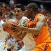 Oklahoma State's Markel Brown and Iowa State's Chris Babb battle for the ball during 1st half at Hilton Coliseum Wednesday, March 6, 2013, in Ames, Iowa. Photo by Nirmalendu Majumdar/Ames Tribune