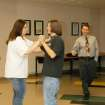 Joe Stout and Jessica Truby learn new dance steps under the watchful eye of Todd Wisdom. The class is offered as part of the art curriculum for Mustang Public Schools' PASS program.  Community Photo By:  Shannon Rigsby, MPS  Submitted By:  Shannon, Mustang