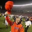 Auburn head coach Tommy Tuberville celebrates the Tigers 21-13 victory over Alabama in the Iron Bowl Saturday Nov. 20, 2004 at Bryant-Denny Stadium in Tuscaloosa, Ala. (AP Photo/John David Mercer)