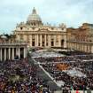 FILE - This April 24, 2005 file photo shows thousands of people attending the installment Mass of Pope Benedict XVI in St. Peter's Square, at the Vatican. Pope Benedict XVI announced Monday, Feb. 11, 2013 that he would resign on Feb. 28 because he was simply too infirm to carry on — the first pontiff to do so in nearly 600 years. The decision sets the stage for a conclave to elect a new pope before the end of March. (AP Photo/Gregorio Borgia, files)