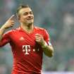 Munich's  Xherdan Shaqiri of Switzerland celebrates after scoring during the German first division Bundesliga soccer match between FC Bayern Munich and Hamburger SV  in Munich, Germany, Saturday, March 30, 2013. (AP Photo/Kerstin Joensson)
