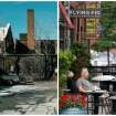 This combination photo shows, left, an undated photo provided by Great Lakes Brewing showing Cleveland's Ohio City neighborhood in 1988, and right, Paul Nasvytis enjoying his morning coffee at Koffie Cafe across from the Great Lakes Brewing Co., on July 1, 2013, in Cleveland. Great Lakes opened in Cleveland's Ohio City neighborhood in 1988. The downtown neighborhood was