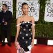 Zoe Saldana arrives at the 71st annual Golden Globe Awards at the Beverly Hilton Hotel on Sunday, Jan. 12, 2014, in Beverly Hills, Calif. (Photo by Jordan Strauss/Invision/AP)