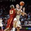 Daniel Hackett (13) receives an intentional foul as he pushes Blake Griffin out of bounds on a layup in the second half as the University of Oklahoma (OU) men's college basketball team plays  Southern California (USC) at the Lloyd Noble Center in Norman, Oklahoma on Thursday, December 4, 2008.     By Steve Sisney, The Oklahoman
