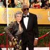 Rita Moreno, left, and Morgan Freeman arrive at the 20th annual Screen Actors Guild Awards at the Shrine Auditorium on Saturday, Jan. 18, 2014, in Los Angeles. (Photo by Paul A. Hebert/Invision/AP)