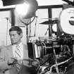 FILE - This Feb. 2, 1979 file photo shows actor Larry Hagman next to a camera on the set of the television series