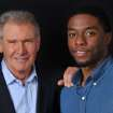 In this Saturday, March 23, 2013 photo, Harrison Ford. left, and Chadwick Boseman, cast members in the film