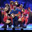 "James Monroe Iglehart, center, and the cast of ""Aladdin"" perform on stage at the 68th annual Tony Awards at Radio City Music Hall on Sunday, June 8, 2014, in New York. (Photo by Evan Agostini/Invision/AP)"