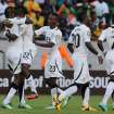 Ghana's Wakaso Mubarak, second from left, celebrates with teammates after scoring his second goal during their quarter final of the African Cup of Nations  soccer match against Cape Verde at the Nelson Mandela Bay Stadium in Port Elizabeth, South Africa, Saturday Feb. 2, 2013. (AP Photo/Themba Hadebe)
