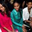 Actresses Zoe Saladana, left, Jada Pinkett Smith and Willow Smith, right, attend the Fall 2013 Michael Kors Runway Show, on Wednesday, Feb. 13, 2013 in New York. (Photo by Dario Cantatore/Invision/AP)