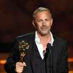 Kevin Costner accepts the award for outstanding lead actor in a miniseries or movie for
