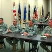 DEPLOY / MILITARY: Announcement of deployment of the 45th Infantry Brigrade Combat Team to Afghanistan Tuesday, May 11, 2010. In this image from video, soldiers from the 45th Infantry Brigade Combat Team listen Tuesday as commanders announce that the unit will be deployed to Afghanistan next year.    Photo by Tim Money, The Oklahoman ORG XMIT: KOD