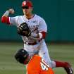 OU's Hector Lorenzana throws over OSU's Craig McConaughy at second to complete the double play in the second inning of a Bedlam baseball game between Oklahoma State University and the University of Oklahoma in Stillwater, Tuesday, April 15, 2014. Photo by Bryan Terry, The Oklahoman