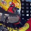 Joey Logano heads out to the track during practice for Sunday's NASCAR Sprint Cup Series auto race at New Hampshire Motor Speedway, Saturday, Sept. 21, 2013, in Loudon, N.H. (AP Photo/Jim Cole)