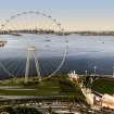 FILE - This image provided by the New York City Mayor's Office shows an artist's rendering of a proposed 625-foot Ferris wheel planned for the Staten Island waterfront in New York. Developers plan to push ahead with the project, which would include an outlet mall and hotel, in spite of questions by some residents. Some locals wonder whether it makes sense to push ahead with a tourist attraction, set partly in a flood zone, before officials take a comprehensive look at how to build smarter after Superstorm Sandy.  (AP Photo/Office of the Mayor of New York, File)
