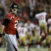 Atlanta Falcons' Matt Ryan walks off the field as the San Francisco 49ers celebrate after the NFL football NFC Championship game Sunday, Jan. 20, 2013, in Atlanta. The 49ers won 28-24 to advance to Superbowl XLVII. (AP Photo/David Goldman)