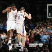 FOR POSSIBLE TAB COVER USE:      FIRST REGULAR SEASON WIN / CELEBRATION: Oklahoma City's Kevin Durant and Nick Collison celebrate after Collision made a basket with 16.4 seconds left in the fourth quarter during the NBA basketball game between the Oklahoma City Thunder and the Minnesota Timberwolves at the Ford Center in Oklahoma City, Sunday, Nov. 2, 2008. The Thunder won, 88-85. BY NATE BILLINGS, THE OKLAHOMAN  ORG XMIT: KOD
