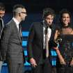 members of fun., from left, Nate Ruess, Andrew Dost and Jack Antonoff accept the award for song of the year for