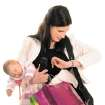 Super mom / mother / baby / packages / hands full / looking at watch      (CLIP ART)