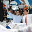 Republican presidential candidate Mitt Romney and vice presidential candidate Paul Ryan greet supporters during a campaign rally at the Augusta County Expoland in Fishersville, Va., on Thursday, Oct. 4, 2012. (AP Photo/The Daily News-Record, Stephen Mitchell)