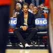 Chicago Bulls center Joakim Noah watches from the bench as his teammates warm up before Game 5 in an NBA basketball first-round playoff series, in Chicago on Tuesday, May 8, 2012. The Bulls won 77-69.(AP Photo/Daily Herald, John Starks)
