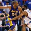 GAME THREE / L.A. LAKERS: Oklahoma City's James Harden (13) defends Kobe Bryant (24) of L.A. during the NBA basketball game between the Los Angeles Lakers and the Oklahoma City Thunder in the first round of the NBA playoffs at the Ford Center in Oklahoma City, Thursday, April 22, 2010. Photo by Nate Billings, The Oklahoman ORG XMIT: KOD