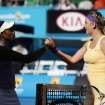 Sloane Stephens, left, of the US congratulates Victoria Azarenka of Belarus after their semifinal match at the Australian Open tennis championship in Melbourne, Australia, Thursday, Jan. 24, 2013. (AP Photo/Aaron Favila)