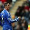 Chelsea's Fernando Torres celebrates his goal during their English Premier League soccer match against Hull City at the KC Stadium, Hull, England, Saturday, Jan. 11, 2014. (AP Photo/Scott Heppell)