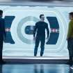 FILE - This undated publicity film image released by Paramount Pictures shows, from left, Zachary Quinto, as Spock, Benedict Cumberbatch as John Harrison, and Chris Pine as Kirk, in a scene in the film,