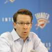 NBA BASKETBALL: Oklahoma City Thunder General Manager Sam Presti answers questions during the final press conference of the season in Oklahoma City, Oklahoma, Friday, April 17, 2009.  Photo by Steve Gooch, The Oklahoman ORG XMIT: KOD