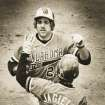 OSU's Pete Incaviglia is greeted at the plate after one of his 29 home runs last year. (STAFF PHOTO BY JIM BECKEL) (Photo shot April 9, 1984)