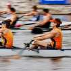 Teams compete in a mix-4 final race at the US Rowing Master Nationals on the Oklahoma River, in the Boat District, Thursday, Aug. 11, 2011.  In foreground is team from Columbus, Ohio, which won the race.  by Jim Beckel, The Oklahoman.  ORG XMIT: KOD