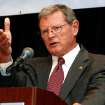 U.S. Senate candidate Republican Jim Inhofe speaks at a State Chamber luncheon at the Crowne Plaza in Tulsa, Okla., on Tuesday, Oct. 14, 2008. (AP Photo/Tulsa World, James Gibbard) ORG XMIT: OKTUL101