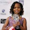 FILE - In this Jan. 10, 2013 file photo, Quvenzhane Wallis is seen backstage with her award for best young actress for