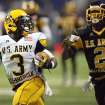 West player Trey Williams, left, is chased by East player Deon Bush during the fourth quarter of the U.S. Army All-American Bowl in San Antonio, Texas, Saturday Jan. 7, 2012. (AP Photo/Delcia Lopez) ORG XMIT: TXDL107