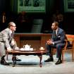 This theater image released by Columbia University shows Jack Willis as Lyndon Johnson, left, and Kenajuan Bentley as the Rev. Martin Luther King Jr. in a scene from