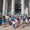 Participants in the 2007 Walk of HOPE release balloons on the Capitol stairs, Saturday, September 22. The Walk of HOPE is held to provide awareness of gynecologic cancers.  Community Photo By:  April Sandefer  Submitted By:  April,
