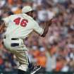 Detroit Tigers relief pitcher Jose Valverde celebrates the team's 7-4 win over the Atlanta Braves after an interleague baseball game in Detroit, Saturday, April 27, 2013. (AP Photo/Carlos Osorio)