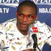 Thunder guard Russell Westbrook speaks with the media following Game 1 of the Western Conference Semifinals against the Los Angeles Lakers on May 14, 2012. Photo by Damon Fontenot/The Oklahoman
