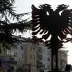 An installation of a two headed black eagle, the symbol of Albania, is placed near a street in Macedonia's capital Skopje, on Saturday, Nov.24, 2012. Macedonian capital Skopje, particularly the parts populated with ethnic Albanians, are flooded with Albanian flags, in the eve of the celebration of 100 years of Albania's independence and the national flag. Ethnic Albanians make up a quarter of Macedonia's 2.1 million people and are the largest ethnic minority in the country. (AP Photo/Boris Grdanoski)