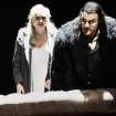 In this undated photo provided by the Opernhaus Zurich Bryn Terfel in the role of the Hollaender (Dutchman), right, and Anja Kampe as Senta, left, perform on stage during a dress rehearsal for Richard Wagner's opera