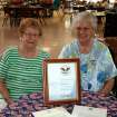 Julia Chipley and Millie Runyon proudly wear their pins and display the certificate and letters they received.  Community Photo By:  Karen Thompson  Submitted By:  linda,