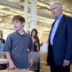 Michigan Gov. Rick Snyder visits Innocademy Charter School in Zeeland, Mich. Wednesday, May 8, 2013. The event featured an announcement about iCademy, a new public online charter school. (AP Photo/The Sentinel, Robert Mathews)