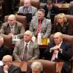 Stern faced legislators listen as Gov. Brad Henry delivers his yearly State of the State message to a joint session of lawmakers in the House chambers at the state capitol Monday afternoon, Feb, 1, 2010.  Photo by Jim Beckel, The Oklahoman